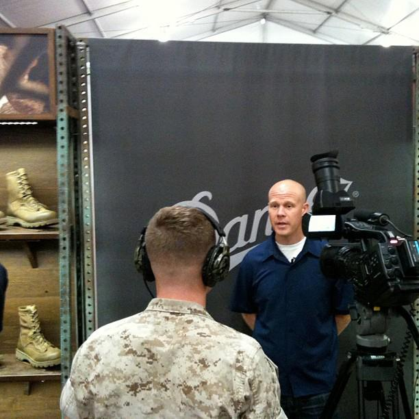 Entertainment Senior Product Developer, Drew Linth, being interviewed by Combat Camera.