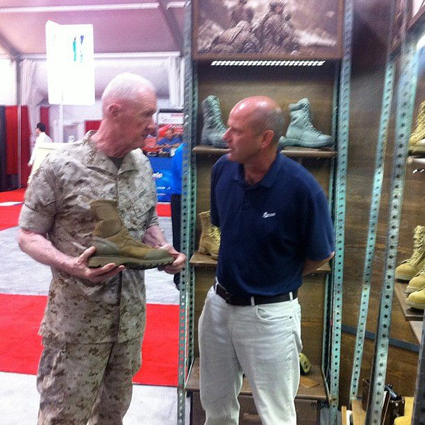 Guns and Military CEO, Joe Schneider, discussing the Danner USMC RAT boot three star General Mills from the Marine Combat Development Committee.
