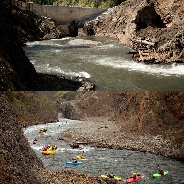 Kayak and Canoe Washington's White Salmon river was officially opened to boaters this month after the removal of the Condit Dam, and spawning salmon have already been spotted upstream for the first time in a century. Photos by Ben Knight, DamNation 