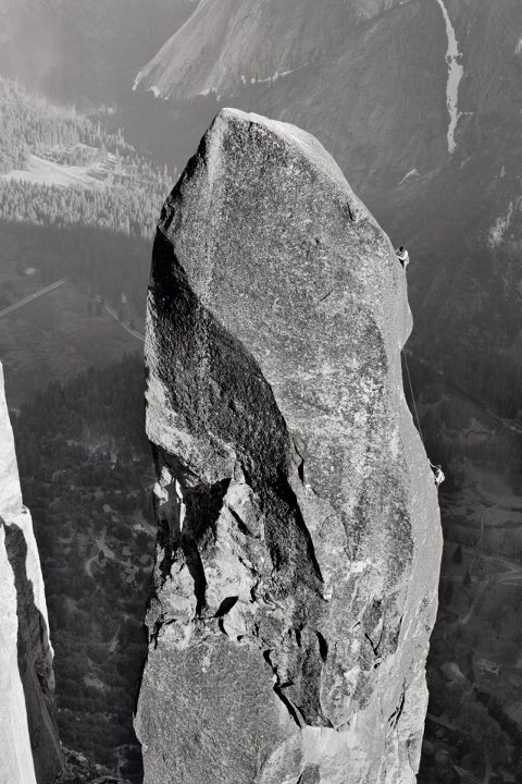 "Climbing ""Lost Arrow Spire. Yosemite,""  Page 48 of Yosemite in the Sixties by Glen Denny http://www.patagonia.com/us/product/yosemite-in-the-sixties-book?p=BK330-0-000"