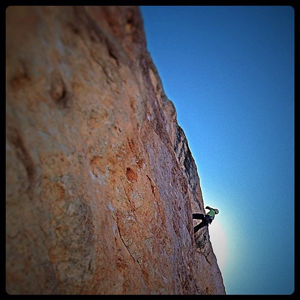Climbing Back to chasing the shade on Come to Derwish, a 600m 7b on the west face of Guvercinlik Kulesi III. @jthesenga hangs out on lead and prays for holds on a long run out to the third anchor. --Brittany #DNS