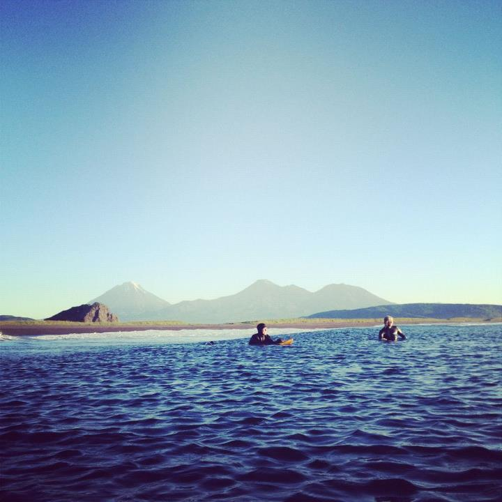 Wake Trevor Gordon and Dane Gudauskas in the line up. Volcanoes in the background.  Photo by Foster Huntington