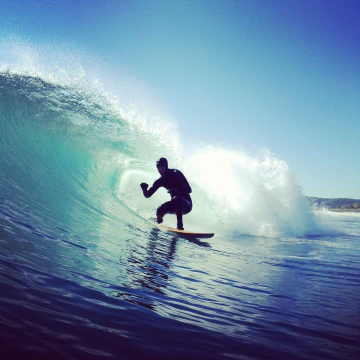 Surf Trevor Gordon coming out of a barrel.  Photo by Foster Huntington
