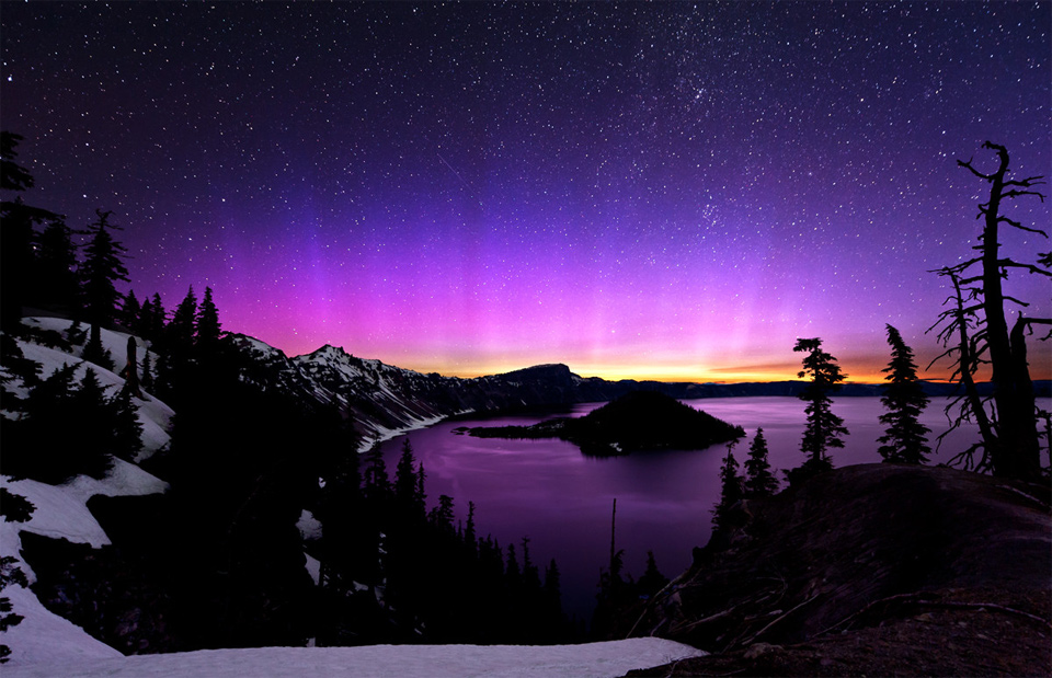Camp and Hike aurora borealis and the milky way over crater lake