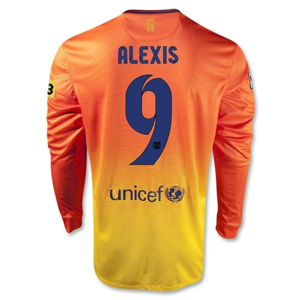 Entertainment Mens ALEXIS Barcelona Away Long Sleeve Soccer Jersey 12/13