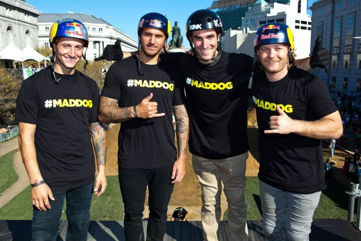 "Entertainment DC BMX's Anthony Napolitan, Corey Bohan, Chris Doyle, and Mike ""Hucker"" Clark showed support for DC's Brett Banasiewicz with their #maddog tees. Brett sustained a serious head injury at a contest a couple months ago, and is currently undergoing full-time"