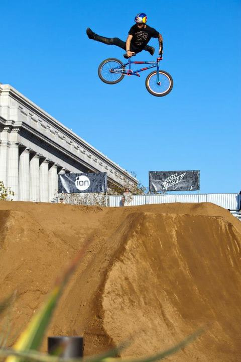 BMX Anthony Napolitan throwing down at the dirt course