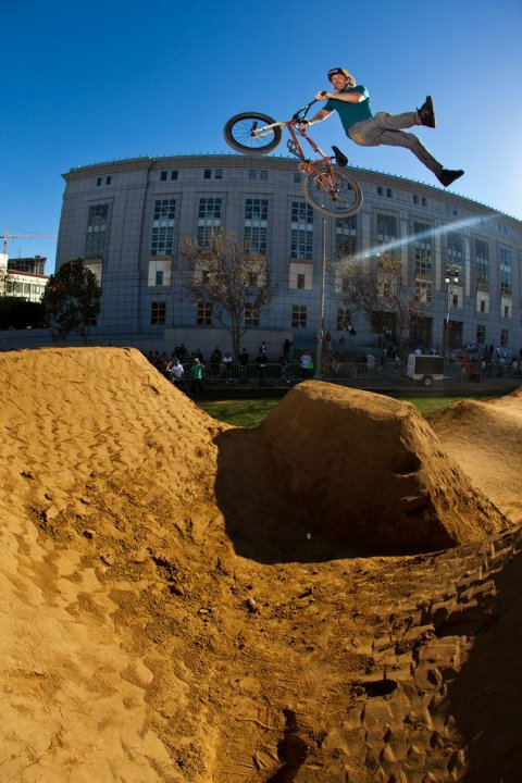 "BMX Mike ""Hucker"" Clark doing a No footed can-can."