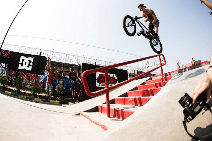 BMX Dylan Stark logging clips left and right at this skatepark.  Photo- Walter Pieringer