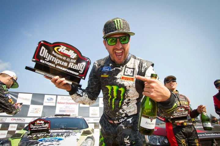 Motorsports After dominating a tough rally, nothing is better than holding up the winning hardware! Congrats Ken Block!