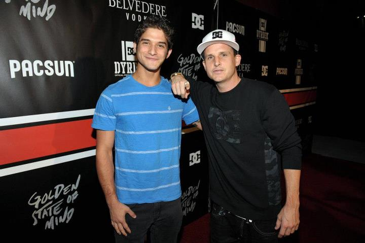 "Entertainment Tyler Posey (from Teen Wolf) with Rob Dyrdek arrive at the DC x PacSun ""Golden State of Mind"" event."