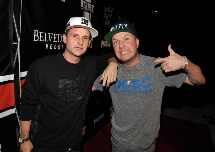 "Entertainment Friends Rob Dyrdek and Nick Swardson arrive at the DC x PacSun ""Golden State of Mind"" event held at Rob's Fantasy Factory on Saturday night."