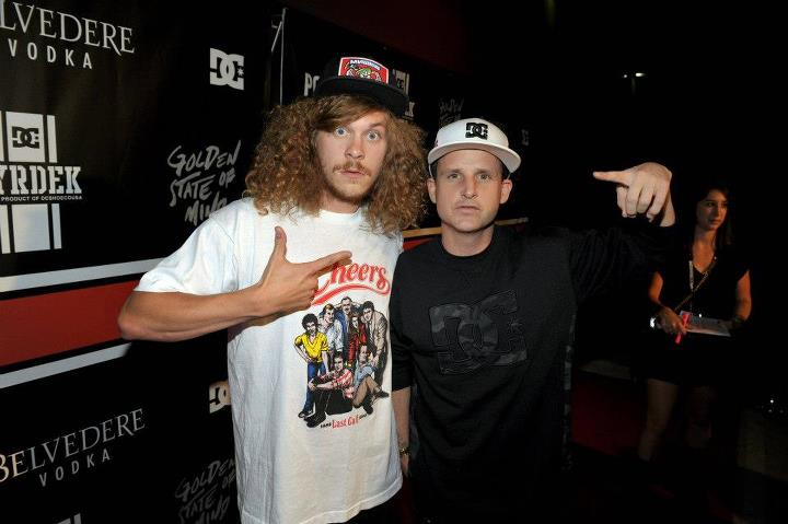 "Entertainment Blake Anderson (from Workaholics) and Rob Dyrdek arrive at the DC x PacSun ""Golden State of Mind"" event. What a fun place to spend a Saturday night!"