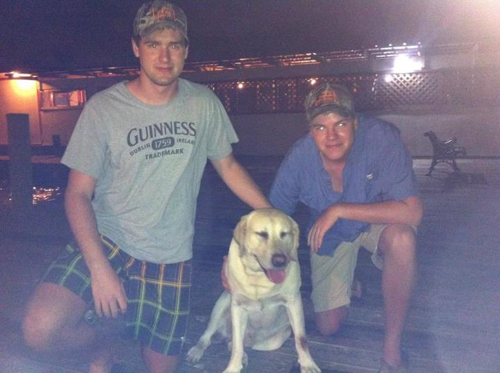 Entertainment Trevor Calvin and John Friedrich with pose with Cooper, a super fishing dog owned by Josh Arscott of Non-Typical Outfitters (www.nontypicaltexas.com).