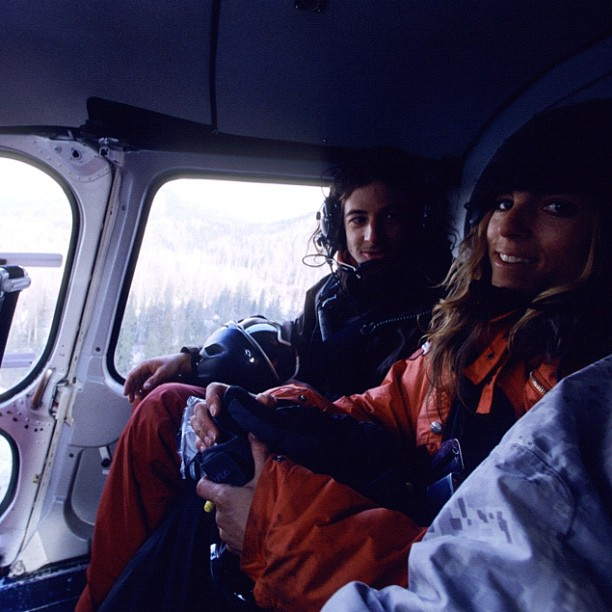 Entertainment Heli-time with big mountain rippers Victoria Jealouse and Sage Cattabriga-alosa. #oldschool #throwbackthursday Photo by Greg von Doersten http://instagr.am/p/SDy5UVlshT/
