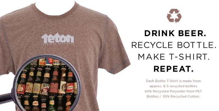 Entertainment Check out TGRs Recycled Bottle T-Shirt, made from 65% Recycled PET Polyester, 35% Recycled Cotton. The PET Polyester is made from recycled bottles, and each color is derived from the bottles being used (no dyes). Brown is made from Beer Bottles, Green fro