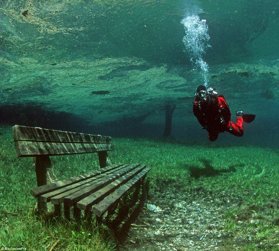 Scuba Green Lake in Austria that is a hiking trail for half the year, and a diving destination for the other