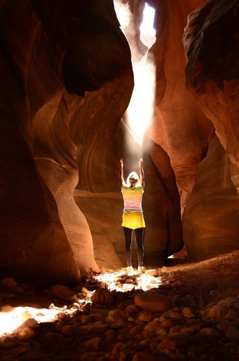 "2nd Place: Megan Peterson  ""This shot was taken in beautiful Buckskin Gulch in southern Utah. My friend and I walked into this cavern and the early morning light was breathtaking. What a great 2 day trek we had!"""