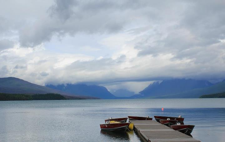 "Camp and Hike 2nd Place: ""McDonald Lake"" by Kirk Kilinger  According to Kirk, ""This was taken this summer at Glacier National Park''s Mcdonald Lake. It was a very rainy morning so the lake was empty."""