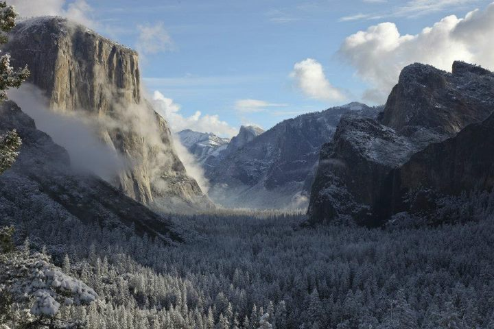 "Camp and Hike 2nd Place Winner: ""First Snow on Yosemite Valley"" by Pierre Moreels. Pierre captured this stunning image last fall during a camping trip to Yosemite National Park."