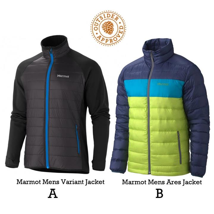 Camp and Hike What would you rather have on your winter wish list, the (A) Marmot Variant or the (B) Marmot Ares?