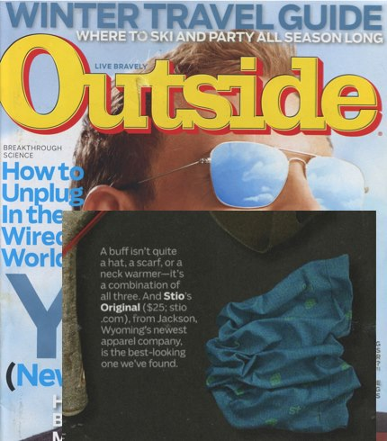 The annual Outside Magazine Holiday Gift Guide is out & the Stio Original Buff is on the list! The first 2 people to share this post will win a Stio Buff of their choice! http://bit.ly/VXX071
