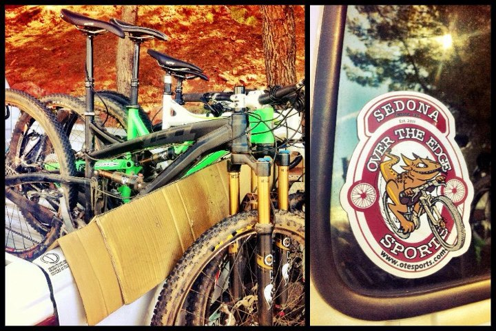 Shuttle day in Sedona with Firsty from Over The Edge bike shop. Logging some descents on the test fleet... Things are about to get steeeeep.