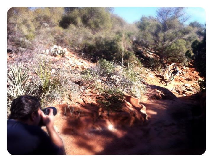 Some behind the scenes with Ian Hylands shooting the action in Sedona for PB's bike test roundup.