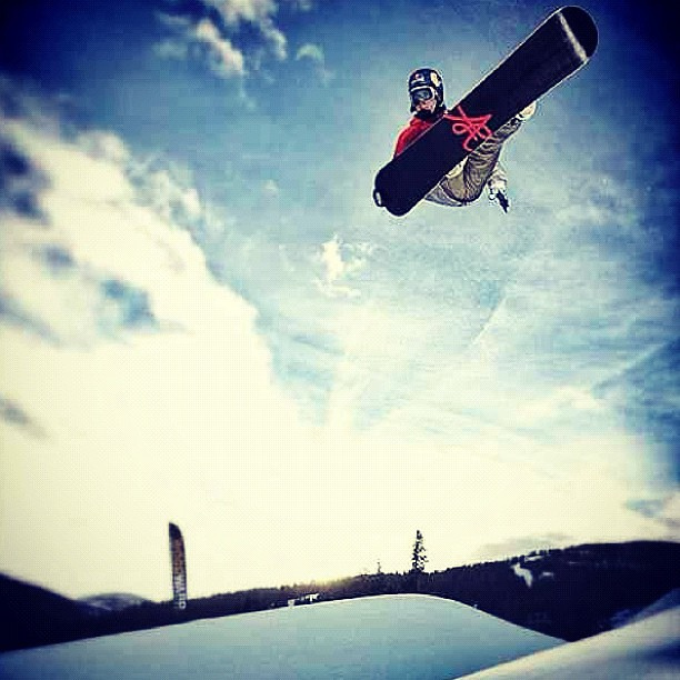 Snowboard louievito puting in a hard days work!
