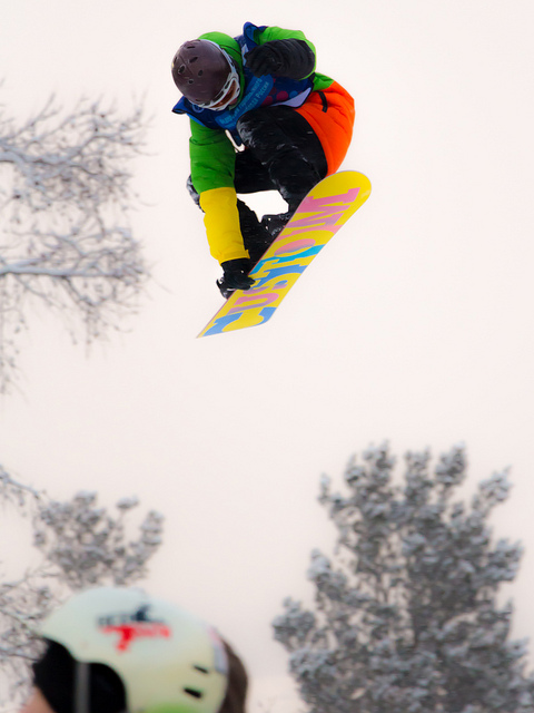 Snowboard flying high