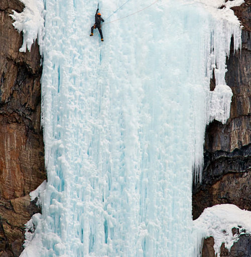Climbing Ice climbers in the province of British Columbia, western Canada