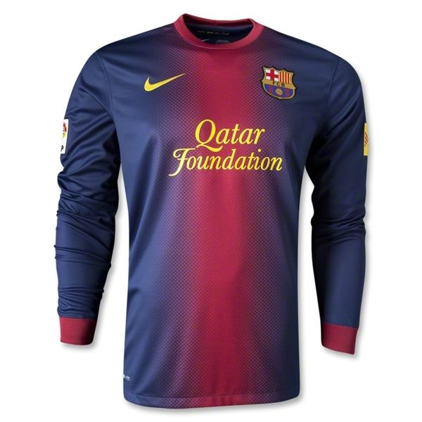 Entertainment Mens Barcelona Home Long Sleeve Soccer Jersey 12/13