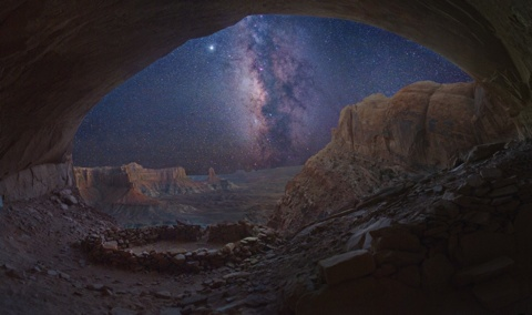 Camp and Hike Milky Way From Utah Cave