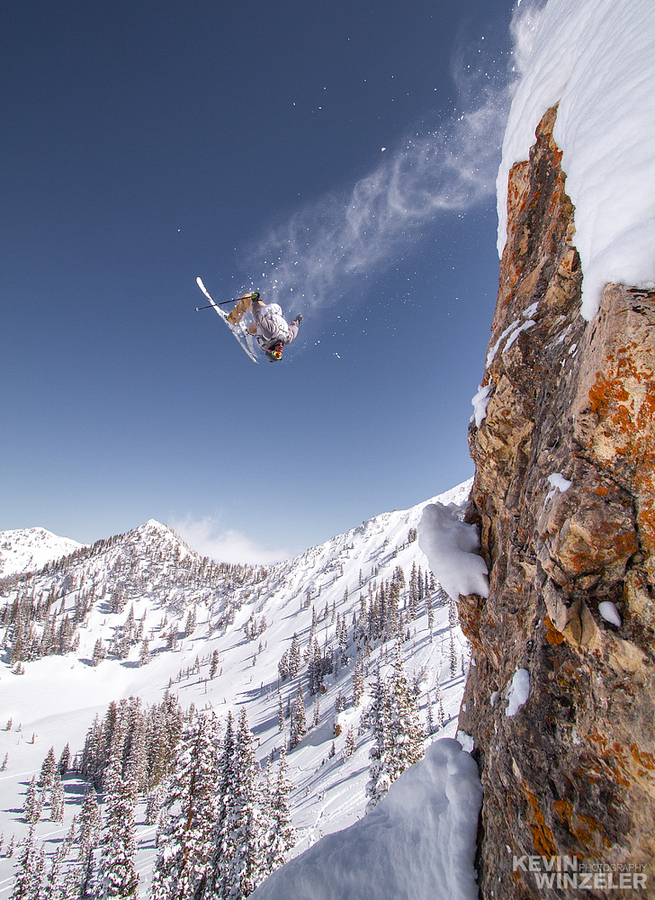 Ski Skiing the backcountry powder - photo by Kevin Winzeler
