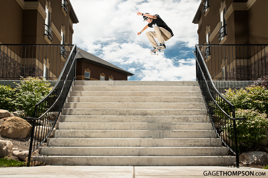 Skateboard Tanner Simpson with a huge ollie down this beasty 12 stair in American Fork, Utah