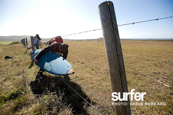 "Surf ""Gabe Gazzola, crossing lines into the yard of your 'friendly' neighborhood rancher,"" says Chris Burkard. ""With perfect waves awaiting, this fence is the last thing on his mind."" Photo: Chris Burkard Photography"
