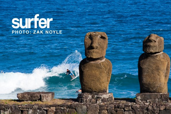 "Surf ""This was a fun trip we did to Rapa Nui, it was culturally amazing to experience,"" says Zak Noyle. ""Here is Fred Patacchia doing a big turn in from of the Mo'ai statues."" Photo: Zak Noyle"