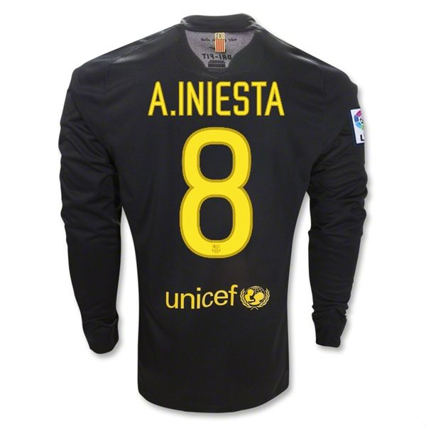 Entertainment Youth A. INIESTA Barcelona Away Long Sleeve Soccer Jersey 2011/2012