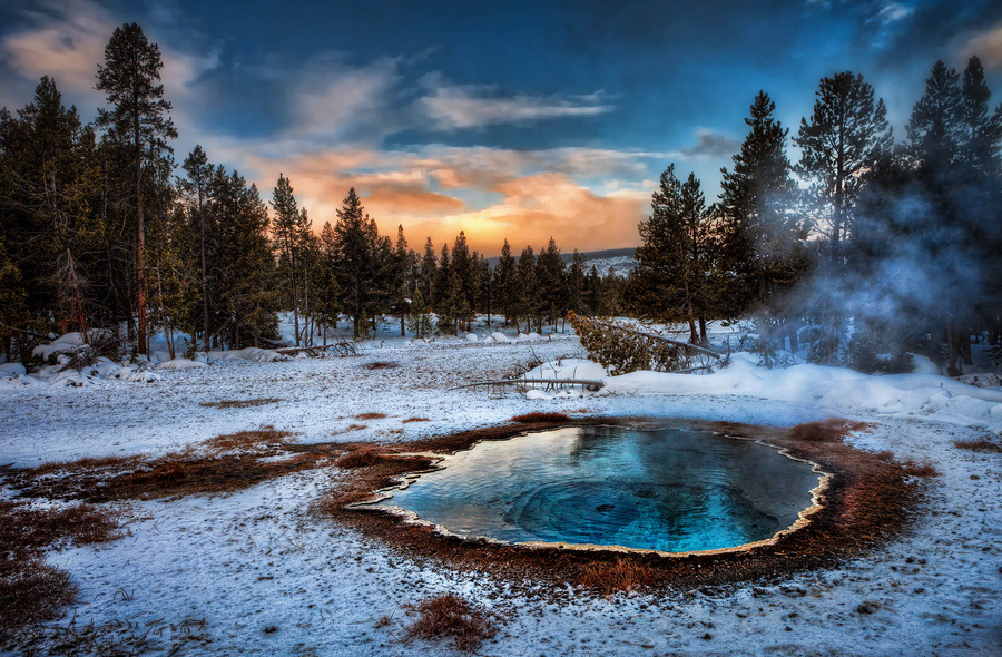 Camp and Hike Thermal at Sunrise in Yellowstone
