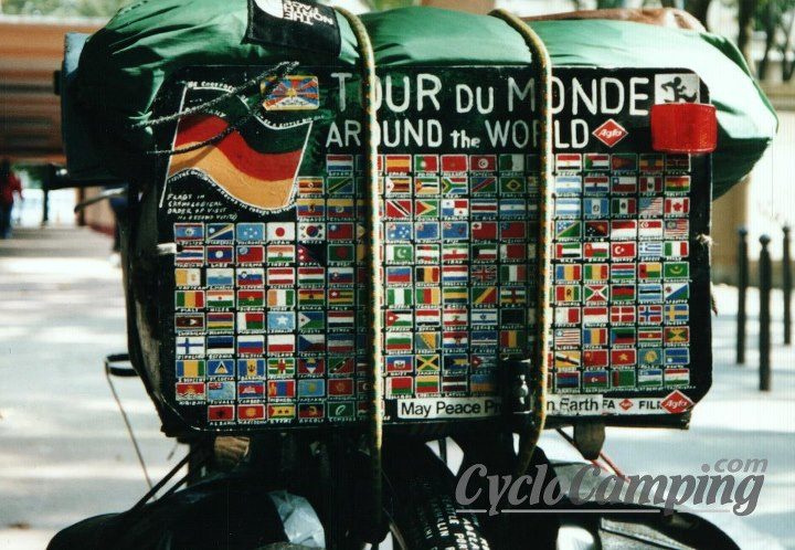 This is the back of Heinz Stucke's old bicycle. All flags are hand painted!