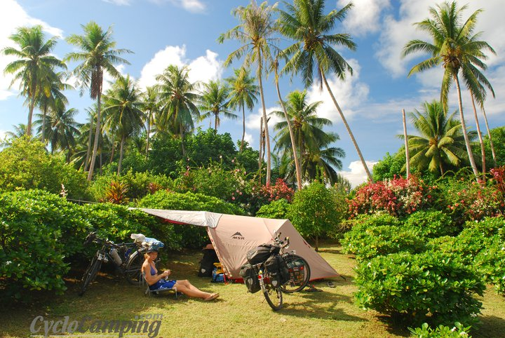 Camp and Hike With the summer coming up, I thought it would be appropriate to share this picture of a backyard where some locals let us pitch our tent when my wife and I were bicycle touring the South Pacific. That particular island was Maupiti, off the coast from Bora