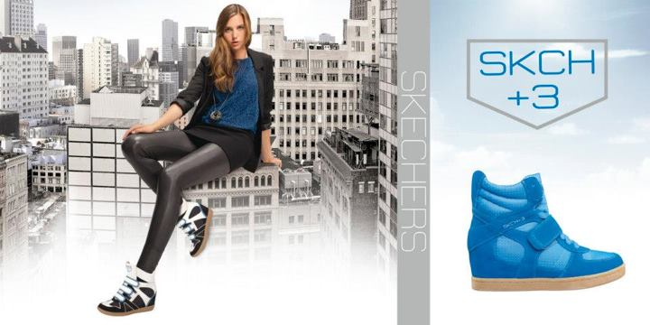 "Fitness All the rage: get a 3"" boost in SKCH+3 hidden wedge sneakers."