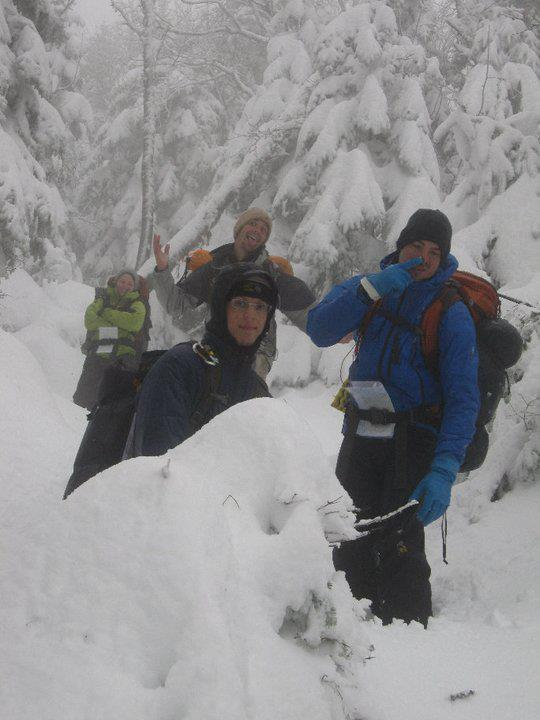 Camp and Hike From bottom right, Ryan Sabol, Dan Rapkin, Charlie Stewart, and Jane Hyman try and