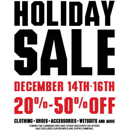 Holiday #SALE starts today at all stores. Hermosa Beach, Huntington Beach, Newport Beach, Corona Del Mar, Irvine and Dana Point including Jack's Girls and Garage Skateshop