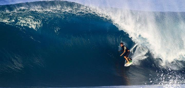 Surf Team rider and North Shore resident Kiron Jabour navigating a tunnel in his backyard.