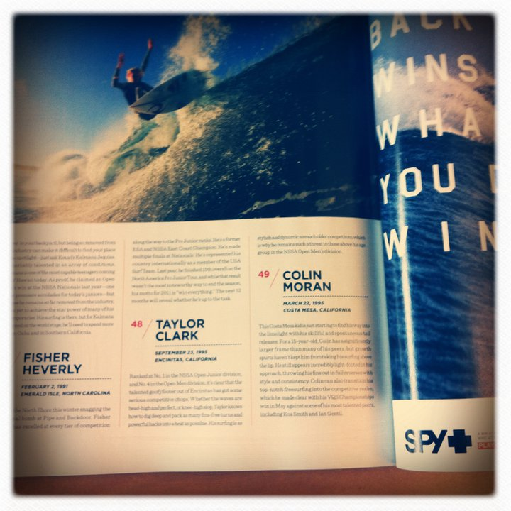 Surf Taylor Clark made Surfer Mag Hot 100, May 2011
