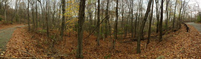 Camp and Hike A Panorama at West Rock in New Haven this week. I can't believe there are still leaves on the trees after Sandy.
