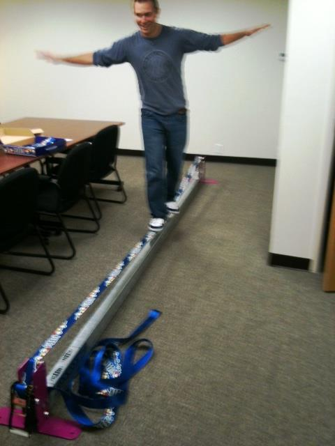 "Extreme Matt ""not cheating"" at his first slackline go."
