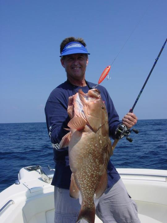 Fishing Rapala Pro Bernie Schultz has been switching gears and fishing salt water lately. Check out this beautiful Grouper he landed while fishing off the coast of FL, anyone else been on the groupers?