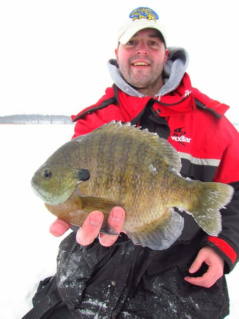 Fishing Tim Ferch of North Country Guides with a nice sunfish!!